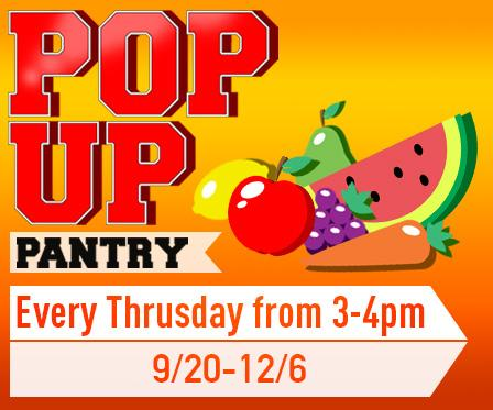 Pop-up food pantry every Thursday from 3-4pm