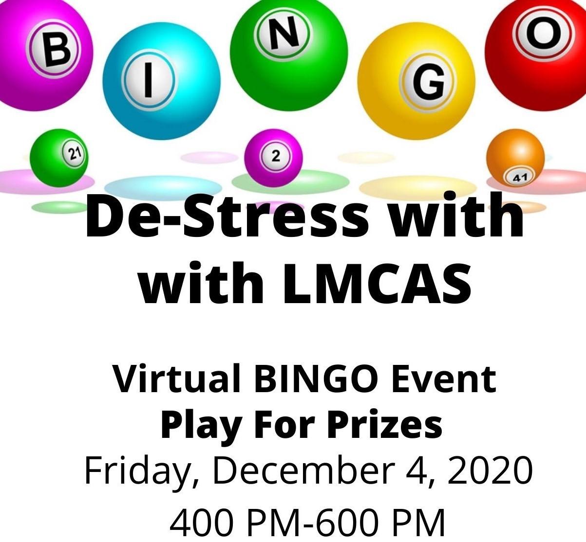 destress with LMCAS bingo
