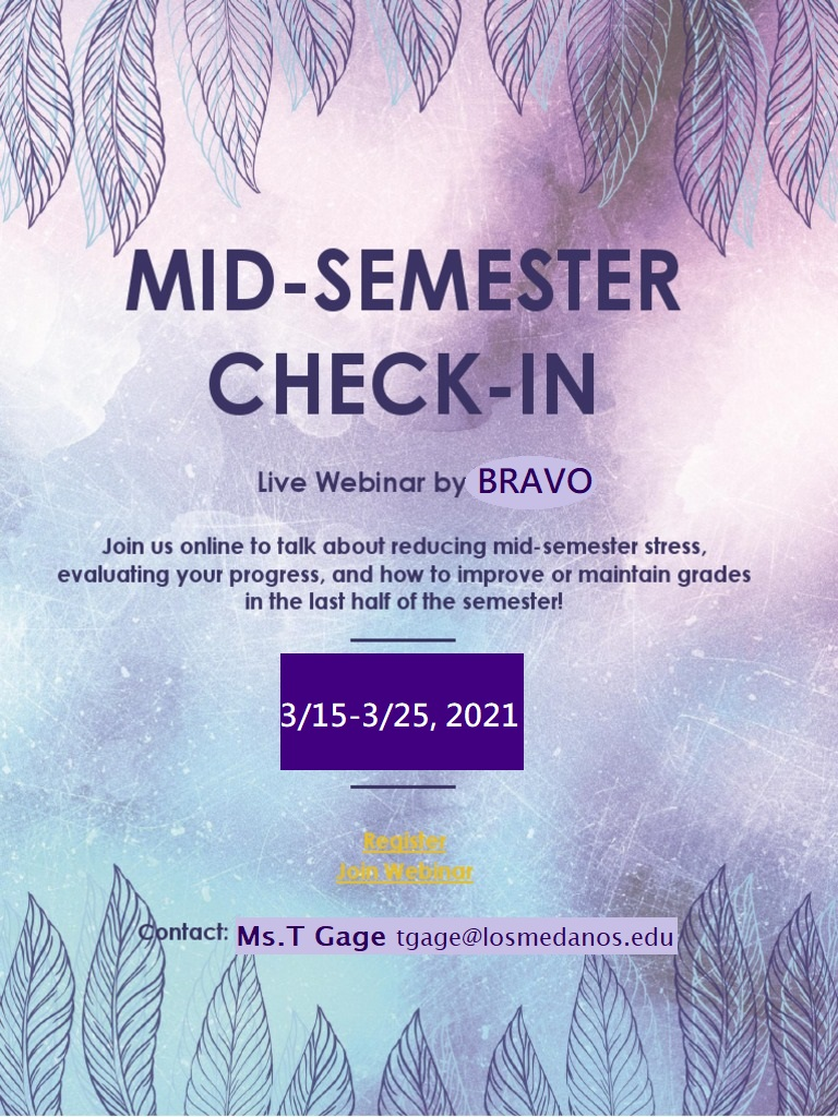 Spring 21 MidSemester Check In
