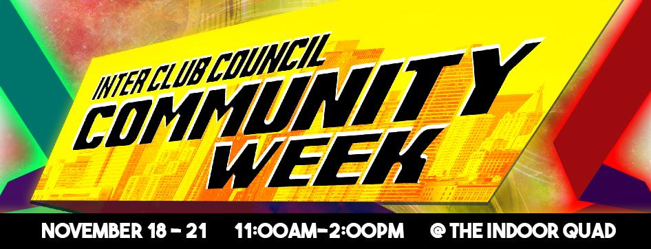 ICC Community Week, Monday-Thursday, Nov 18-21, 11:00 AM-2:00 PM, the indoor quad