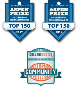 Aspen Prize 2017 and 2019 logos, College Choice 2016-17 Best Community Colleges