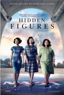 Hidden Figures movie poster: 3 black women at NASA with a spaceship behind them