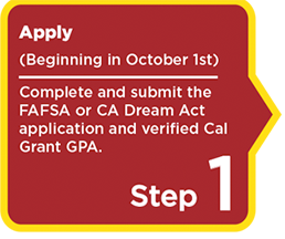 Step 1: Apply (Beginning October 1st)  Complete and submit the FAFSA or CA Dream Act application and verified Cal Grant GPA.