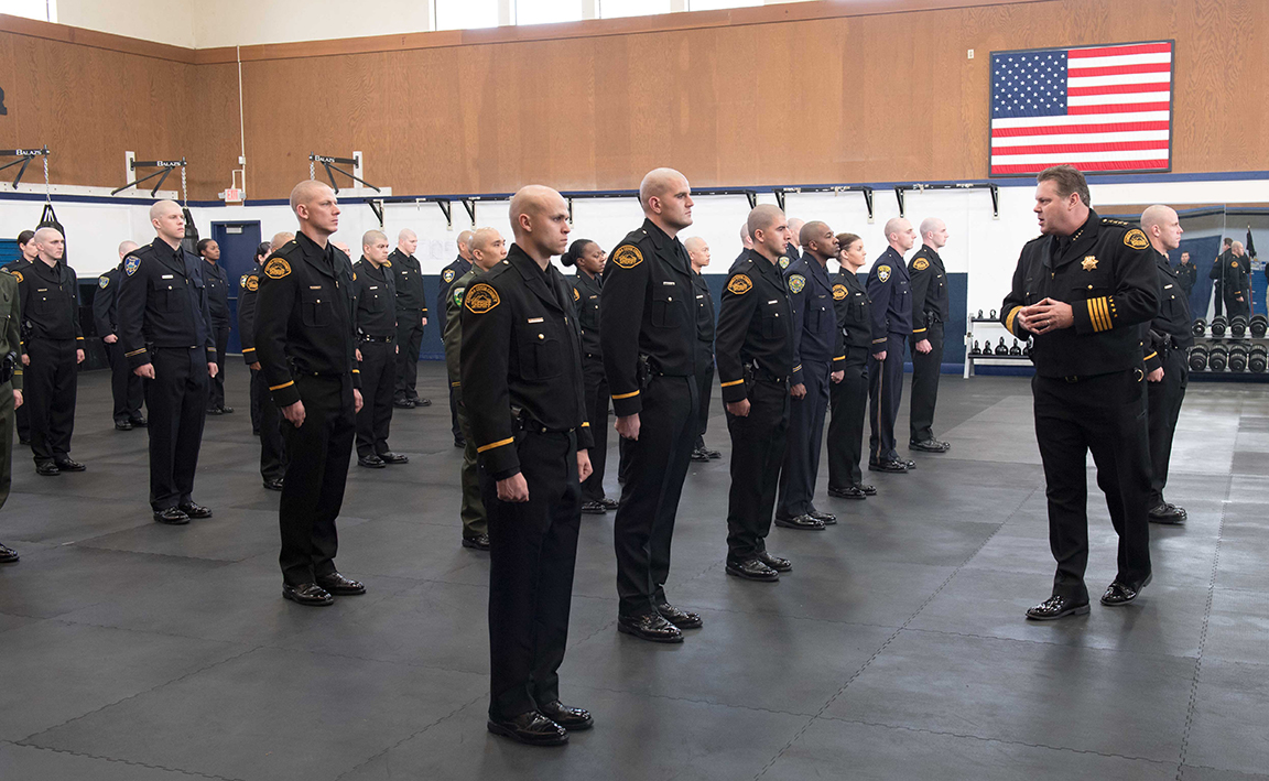 Cadets in formation at Law Enforcement Academy
