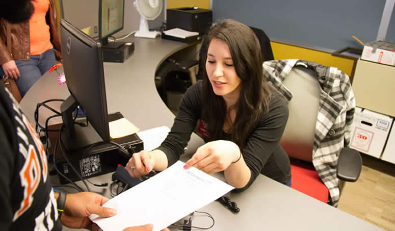 Student assistant working in Counseling Office